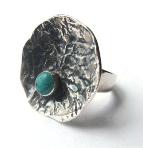Sterling silver and turquoise paste modernist ring, for sale in my Etsy shop. Click on photo for details.