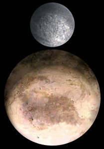 Pluto and its moon Charon. Photo composite made by Jcpag2012 from originals by Pat Rawlings and NASA.
