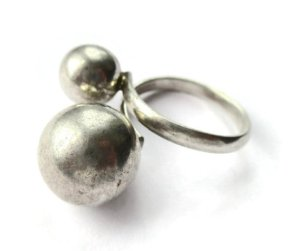 Vintage sterling silver bypass ring with two spheres. For sale in my Etsy shop: click on photo for details.