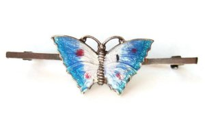 Vintage enamel and silver butterfly bar brooch.