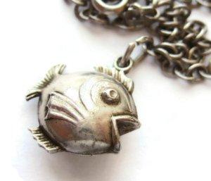 Vintage puffy fish charm bracelet.