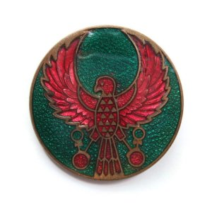 Vintage cloisonné enamel brooch, Ancient Egyptian Horus or Ra-Horakhty falcon, Egyptian Revival pin.