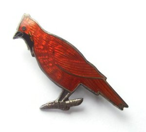 Vintage enamel and silver red cardinal bird brooch.
