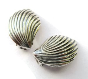 Elegant vintage Danish sterling silver clipon earrings.