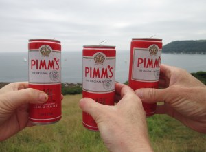 Pimms o'clock. Second of the walk. Lushes, us?