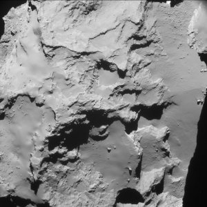 Single frame enhanced NavCam image taken on 29 September 2016 at 22:53 GMT, when Rosetta was 20 km from the centre of the nucleus of Comet 67P/Churyumov-Gerasimenko. The scale at the surface is about 1.7 m/pixel and the image measures about 1.7 km across. ESA/Rosetta/NAVCAM – CC BY-SA IGO 3.0