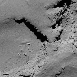 Comet 67P/C-G viewed with Rosetta's OSIRIS NAC on 30 September 2016, 5.8 km from the surface. Credit: ESA/Rosetta/MPS for OSIRIS Team MPS/UPD/LAM/IAA/SSO/INTA/UPM/DASP/IDA