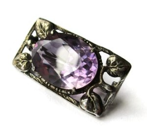 Arts and Crafts style amethyst brooch, vintage lace pin.