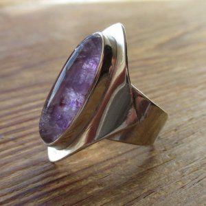 Amethyst and sterling silver ring, hallmarked in Birmingham in 1973. For sale in my Etsy shop: click on photo for details.
