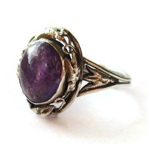 Arts and Crafts amethyst ring. For sale in my Etsy shop: click on photo for details.
