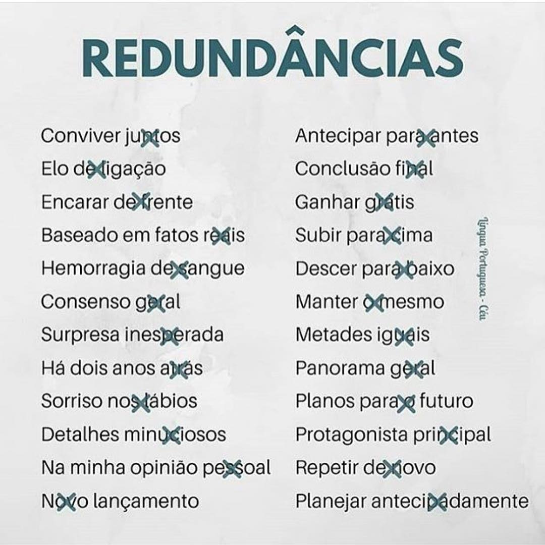 Redundancia En Portugues Frases Y Expresiones Mas Comunes