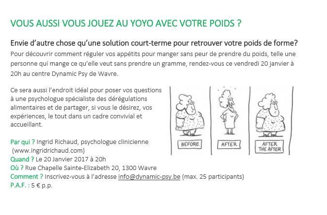 Conférence : Gestion du poids sans régime : Vous aussi vous jouez au yoyo avec votre poids ?
