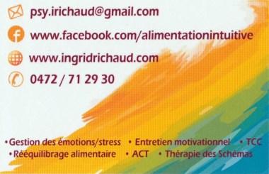 Carte d'Ingrid Richaud (verso), psychologue à Wavre et à Nivelles (Brabant Wallon)