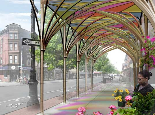 sustainable design, green design, new york city, sustainable architecture, urbanshed, public space, social design, urban umbrella sidewalk shed, young-hwan choi