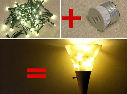 led holiday lights, led lights, led christmas lights, how to reuse led holiday lights, diy, sustainable design, green design, energy efficient lighting