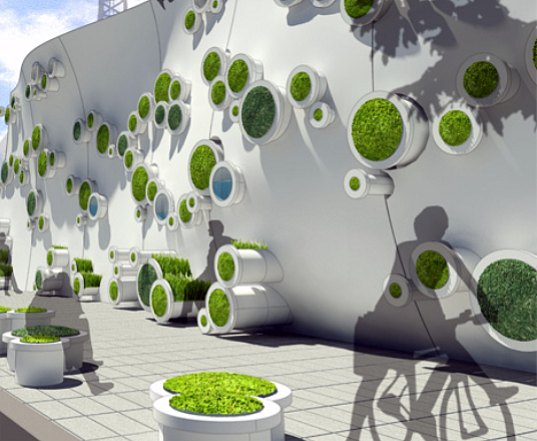 living wall, green wall, symbiotic wall, symbiotic green wall, construction, construction wall, Kooho Jung, Hayeon Kelly Choi, water collection, water filtration, rainwater, noise abatement, urban design, air quality