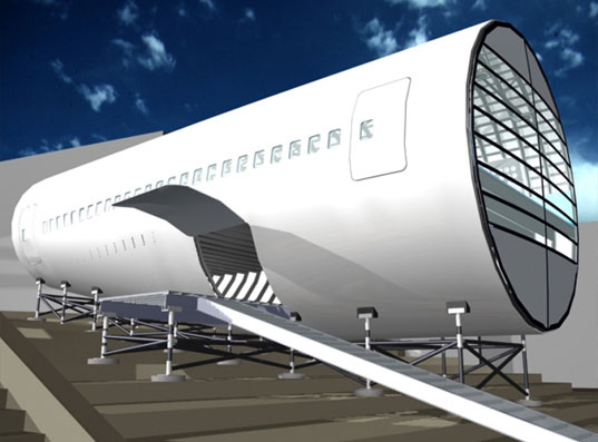 LOT-EK Airplane PAVILLION, LOT-EK Recycled Airplane Fuselage, Recycled Boeing 747 Students Pavillion, Reclaimed Design, Recycling in Architecture, Reclaimed Architecture, Lot-ek Architects