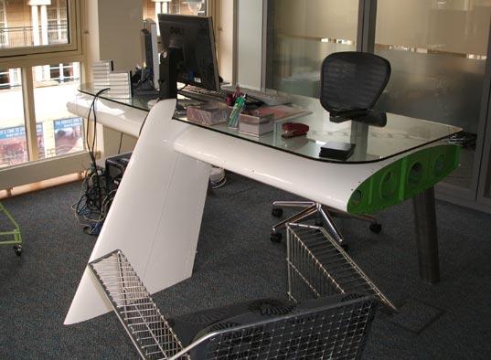 deborah recycled airplane wing desk, sustainable design, reestore green design, recycled materials, green design, recycled airplane wing, deborah desk