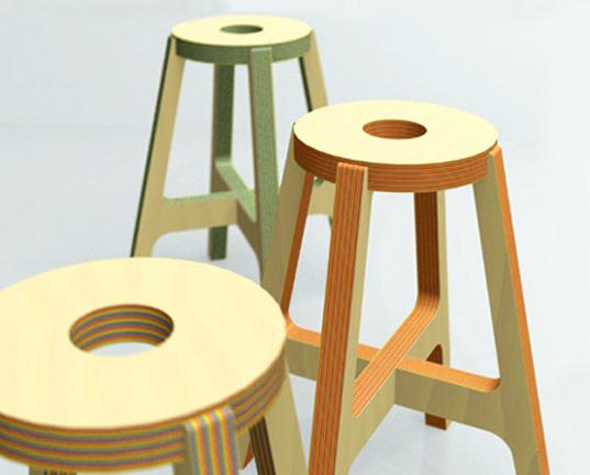 Paper wood stool
