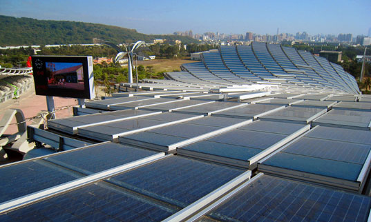 sustainable design, green design, toyo ito, solar powered stadium, alternative energy, solar panels, energy efficient, green building, sustainable architecture