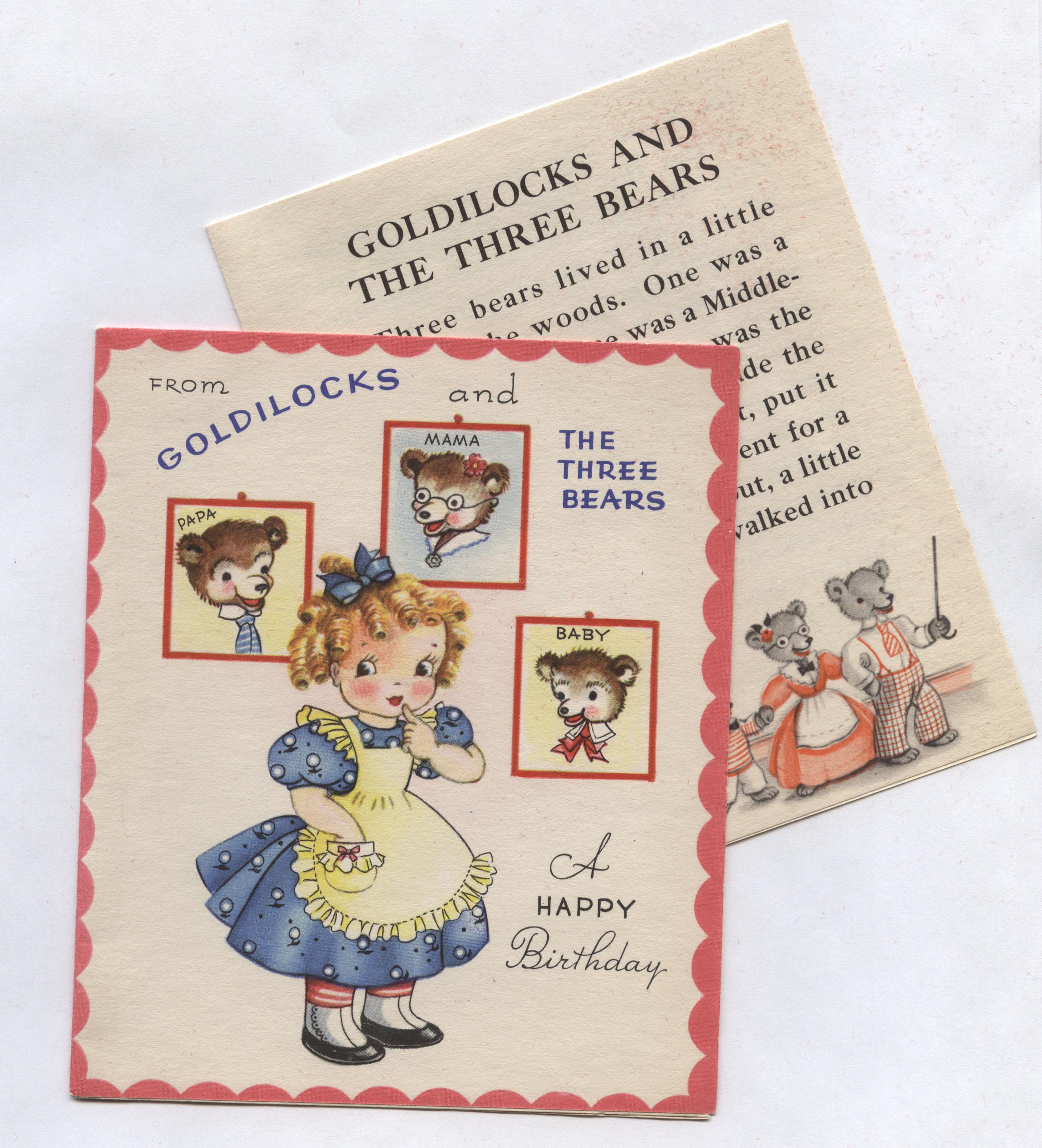 Vintage Birthday Greetings From Goldilocks The Three Bears
