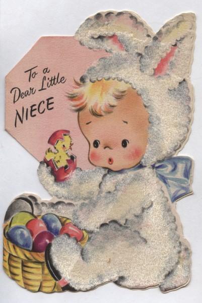 Vintage Flocked Hallmark Easter Card