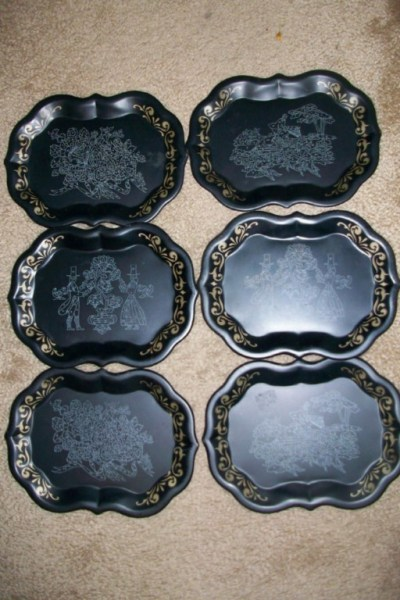 vintage paint by number metal trays