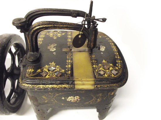 Gilt and Mother-of-pearl Floral singer turtleback sewing machine