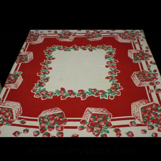 vintage strawberries print tablecloth