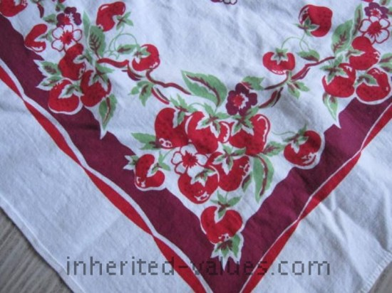 vintage strawberry print table cloth with purple