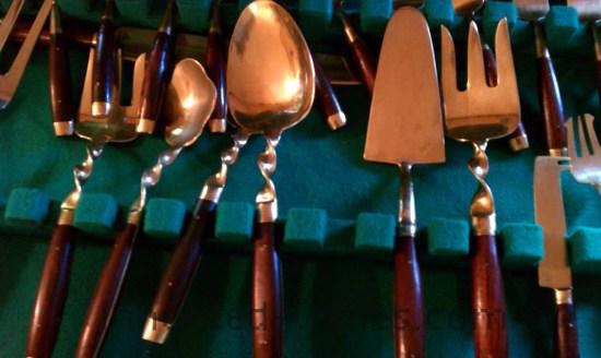 vintage bronzeware with rosewood handles