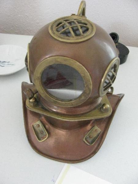 vintage rolex diving helmet watch display