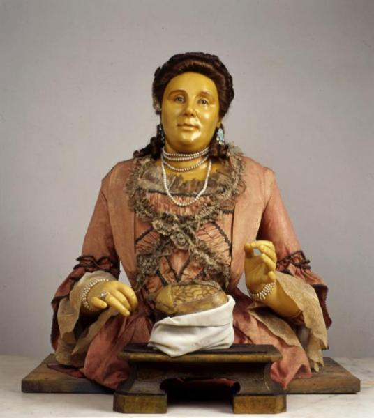 Anna Morandi Manzolini, wax sculpture created by the scientist-artist herself