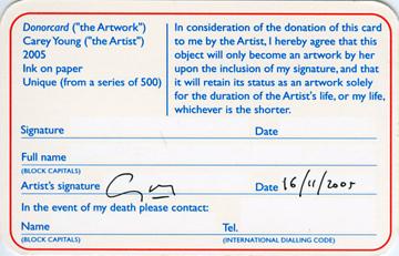 Tarjeta de donación artística de Carey Young