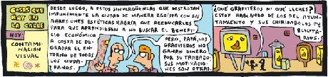 Viñeta de Mauro Entrialgo sobre graffitis y chirimbolos municipales