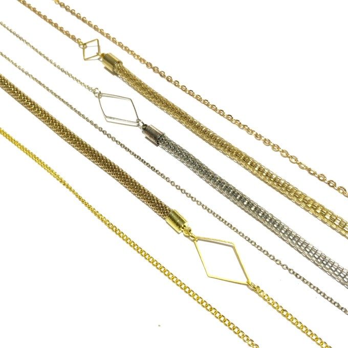 Basic necklace- champagnekleurig