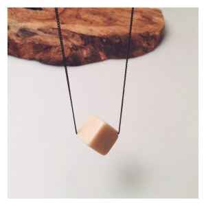 Nude resin cube necklace
