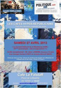 Samedi 27 avril 2013 : 23ème Café hyper-républicain – «Le Conseil National de la Résistance (CNR), 70 ans après : l'ancien et le moderne»
