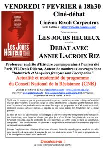 """7/02 : Conférence débat """"Actualité et modernité du CNR"""" et film les Jours Heureux – avec Annie Lacroix-Riz – Carpentras"""