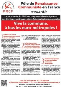 Vive la commune,  à bas les euro-métropoles ! – tract élections municipales