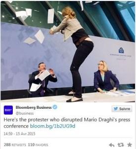 """Vidéo : """"mettons fin à la dictature de la BCE """" une jeune femme interrompt la conférence de presse de Draghi"""