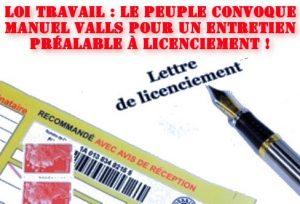 loi el khomri loi travail Valls lettre de licenciement