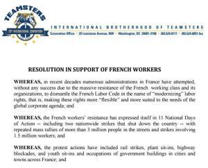 #Teamster : Les syndicalistes américains soutiennent la lutte contre la Loi El Khomri #LoiTravail