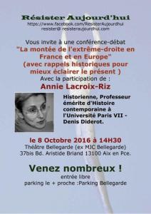 """""""La montée de l'extrême droite en France et en Europe !"""" Annie Lacroix-Riz en conférence le 8 octobre à Aix-en-Provence"""