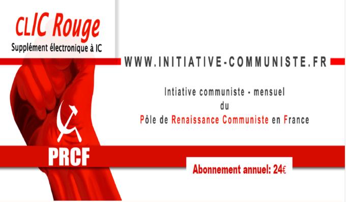 CLIC rouge :votre supplément électronique gratuit à Initiative Communiste [ avril 2018]