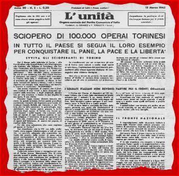 La notizia dello sciopero in prima pagina del giornale L'Unità