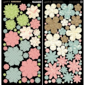 Botanical Tea Cardstock Die-Cuts 6″X12″ Sheets 2/Pkg – Flowers
