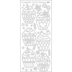 Cupcakes Peel-Off Stickers – Black