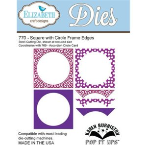 Elizabeth Craft Pop It Up Metal Dies By Karen Burniston – Square W/Circle Frame Edges