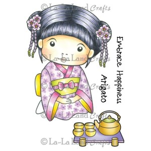 La-La Land Cling Mount Rubber Stamps – Kimono Marci with Tea